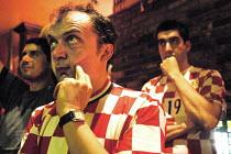 Croatian football fans living in London watching their team play Australia. Chelsea, London. - Rogan Macdonald - 22-06-2006