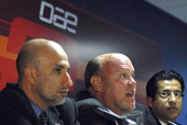 Dr Mohmmed Al Zarouni, Managing Director of DAE along with Bob Johnson, the new CEO of Dubai Aerospace and Rashid Al Malik, Project Director (from Left to right) at a press conference at Farnborough I... - Rogan Macdonald - 14-07-2006