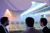 Businessmen viewing the interior of the Airbus A380, at Farnborough International Airshow in Hampshire, U.K. - Rogan Macdonald - 14-07-2006