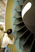 A visitor testing the GP7200 Turbofan engine on the Airbus A380, at Farnborough International Airshow in Hampshire, U.K. - Rogan Macdonald - 14-07-2006