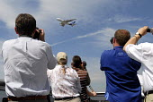 Members of the press photographing an air display, featuring the Airbus A380. At Farnborough International Airshow in Hampshire, U.K - Rogan Macdonald - 14-07-2006