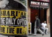 An islamist sticker advocating Sharia Law in Brick Lane, East End of London. - Rogan Macdonald - 13-04-2007