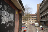 Islamist graffiti in a housing estate, near Brick Lane, East End of London. - Rogan Macdonald - 13-04-2007