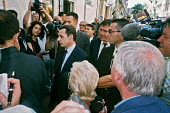 Nicolas Sarkozy Interior Mister in the French Government visiting some angry residents and shopkeepers in Perpignan 3 June 2005, just after some serious rioting between the Gypsy (Gitane) and the Nort... - Roy Peters - 03-06-2005