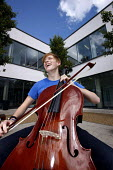 A student playing the cello in a Music lesson at Joseph Chamberlain Sixth Form College. - Roy Peters - 08-07-2011