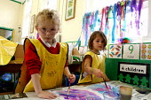 Pupils painting, Art lesson Primary school County Durham. - Roy Peters - 06-07-2004