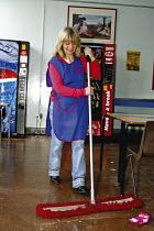 Cleaner at work, Primary School - Roy Peters - 29-03-2003