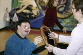 Basket weaving in Studley, Warks, facilitated by arts organisation Escape. - Roy Peters - 2000s,2004,adult,ADULTS,art,arts,basket,craft,crafts,disabilities,disability,disable,disabled,disablement,downs,edu education,FEMALE,incapacity,learning,male,man,MATURE,men,minorities,need,needs,peopl