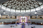 Gurdwara Sri Singh Sabha, SouthallThe circular balcony - Roy Peters - 2000s,2003,ACE,alata,architecture,asian,ASIANS,black,BME Black minority ethnic,buildings,culture,Gurdwara,Gurdwara Sri Singh Sabha temple,holy,Indian,pray,prayer,prayers,praying,RELIGION,religions,rel