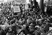 Steel strike 1980 Steelworkers lobby union delegates against 10 pay offer at TUC meeting. London - Ray Rising - 14-02-1980