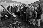 Steel strike 1980 Pickets at steel stockholders,C Roberts Steel, Rotherham - Ray Rising - 14-03-1980