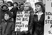 Steelworkers and their families from Scunthorpe, concerned about their futures lobby the TUC a year after the strike - Ray Rising - 10-01-1981