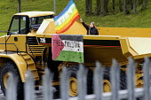Protesters occupy Caterpillar who sell bulldozers to Israel to demolish Palestinian homes. Peterlee, Durham. - Ray Smith - 21-05-2004