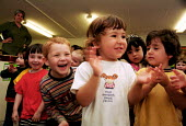 Nursery children singing as part of Islington Education Week - a borough initiative promoting music and the arts - Stefano Cagnoni - 15-06-2001