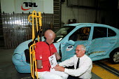 John Crew working with EuroSID, a side impact dummy, in the Impact Test Facility at the Transport Research Laboratory in Crowthorne, Berkshire - Stefano Cagnoni - 04-09-2001