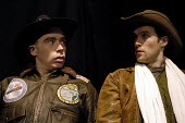 Actors Jamie Bower and Jonah Russell playing US bomber pilots in Passion Pit Theatre's production of The Madness of George Dubya or Strangelove Revisited - a play staged in protest at the potential wa... - Stefano Cagnoni - 11-01-2003