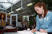 Pupils taking their mock Art exam for GCSE at Camden School for Girls, listed by Ofsted as one of a number of schools inspected offering an outstanding quality of education - Stefano Cagnoni - 07-12-2005