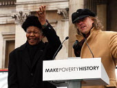 Nelson Mandela having made the keynote speech to thousands gathered in Trafalgar Square for the Make Poverty History rally organised by a coalition of groups lobbying for an end to the debt crisis and... - Stefano Cagnoni - 03-02-2005