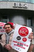 BBC workers protest outside Television Centre against staff cuts & threats of privatisation of key BBC services - Stefano Cagnoni - 02-03-2005