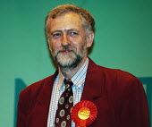 Jeremy Corbyn, successful Labour candidate for the Islington North constituency seat during the 2005 General Election, smiles as his decalaration is announced - Stefano Cagnoni - 2000s,2005,campaign,campaigning,CAMPAIGNS,candidate,CANDIDATES,democracy,electing,election,elections,general,Islington,jacket,Labour Party,MP,POL politics,red,rosette,successful,wellbeing
