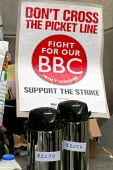 BECTU thermos at BBC Bush House on the NUJ Bectu & Amicus joint unions picket line on the first day of strike action at the BBC against cuts in jobs. - Stefano Cagnoni - 23-05-2005