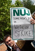BBC workers at White City join the NUJ Bectu & Amicus joint unions picket line on the first day of strike action at the BBC against cuts in jobs - Stefano Cagnoni - 23-05-2005