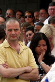Workers from the Prospect trade union leave their offices to join in a 2 minute silence one week on for the victims of the terrorist attacks which resulted in the deaths of more than 50 people and inj... - Stefano Cagnoni - 14-07-2005