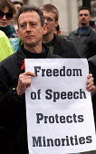 Peter Tatchell joins a Freedom of Expression rally held at Trafalgar Square, The rally was called to highlight attacks on freedom of speech and censorship of political and religious opinion - Stefano Cagnoni - 25-03-2006