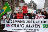 Demonstration in Whitehall demanding the release of Craig Alden charged with abuse and neglect of children under his care at the Abrigo Warboys Orphanage in Planaltina Goias, Brazil. The demonstration... - Stefano Cagnoni - 08-03-2006