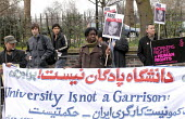 University is Not a Garrison reads a banner carried in protest against the persecution of trades union and political activists in Iran, organised by the TUC & ITF, Iranian Embassy, London - Stefano Cagnoni - 06-03-2008