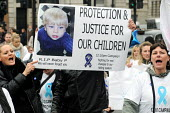 Protestors calling for harsher sentences against perpetrators of child abuse and greater protection for those children under threat, rally in Trafalgar Square. - Stefano Cagnoni - 12:10,2000s,2009,abuse,activist,activists,against,babies,Baby,banner,banners,Campaign,campaigner,campaigners,CAMPAIGNING,CAMPAIGNS,child,child protection,CHILDHOOD,children,CLJ crime & justice,DEMONST