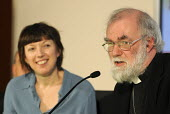 Dr Rowan Williams, Archbishop of Canterbury, answering questions at a TUC Conference on the economic recession entitled: Beyond Crisis. Frances O'Grady, Deputy General Secretary of the TUC is to his r... - Stefano Cagnoni - 16-11-2009