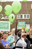 Protestors release their balloons at a rally at The Whittington Hospital in north London against the closure of A&E and Maternity Departments. - Stefano Cagnoni - 29-04-2010