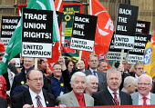 Dennis Skinner MP joins RMT members and other workers protest opposite the House of Commons before lobbying MPs in favour of The Lawful Industrial Action Bill which seeks to protect Trade Union rights... - Stefano Cagnoni - 2010,2010s,activist,activists,against,banner banners,CAMPAIGN,campaigner,campaigners,campaigning,CAMPAIGNS,DEMONSTRATING,demonstration,DEMONSTRATIONS,House,houses,labour party,member,member members,me