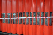 Gates of Fire Station in Shaftesbury Lane in West End of London with fire engines inside secured by firefighters staging the second of their one day strikes against the threat of compulsory sacking fo... - Stefano Cagnoni - 01-11-2010