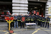 Firefighters from Farringdon Fire Station on the picket line and in the stocks on the second of their one day strikes against the threat of compulsory sacking for refusing to accept changes in their w... - Stefano Cagnoni - 01-11-2010