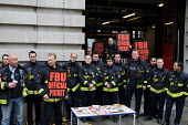 Firefighters on the picket line at Farringdon Fire Station, on the second of their one day strikes against the threat of compulsory sacking for refusing to accept changes in their working conditions i... - Stefano Cagnoni - 2010,2010s,adult,adults,against,changes,DISPUTE,DISPUTES,FBU,Fire,fire brigade,FIREFIGHTER,Firefighters,fireman,firemen,fires,industrial action,INDUSTRIAL DISPUTE,industrial relations,line,MATURE,memb