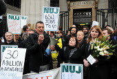 Jeremy Dear, General Secretary of the NUJ, addresses BBC staff and supporters as they protest outside Bush House against BBC plans to cut hundreds of jobs in BBC World Service as a result of governmen... - Stefano Cagnoni - 26-01-2011