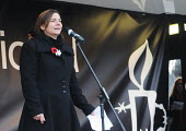 Global Day for Egypt organised by the TUC and Amnesty International. People celebrate the resignation of Mubarak. Trafalgar Square, London. Sally Hunt UCU speaking - Stefano Cagnoni - 12-02-2011