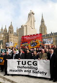 Trade Union Co-Ordinating Group protest outside Parliament, Health & Safety Week of Action, to promote safety in the workplace and oppose government plans to reduce intervention through legislation in... - Stefano Cagnoni - 2010s,2011,activist,activists,Against,CAMPAIGN,campaigner,campaigners,campaigning,CAMPAIGNS,Coordinating,Corporate,DEMONSTRATING,DEMONSTRATION,DEMONSTRATIONS,FACK,Families,family,female,government,Gro