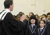 The first ever Year 7 intake at the West London Free School, Hammersmith, sing a song as part of the official opening ceremony for their new school - Stefano Cagnoni - 09-09-2011