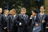 The first ever Year 7 intake at the West London Free School, London, line up in the playground. - Stefano Cagnoni - 1st,2010s,2011,boy,boys,child,CHILDHOOD,children,cities,city,ED Education,edu,educate,educating,education,educational,female,females,first,Free,Free Schools,girl,girls,independent,juvenile,juveniles,k