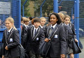 The first ever Year 7 intake at the West London Free School, Hammersmith, walking to their sports day event. - Stefano Cagnoni - 1st,2010s,2011,adolescence,adolescent,adolescents,BAME,BAMEs,black,BME,bmes,child,CHILDHOOD,children,cities,city,cultural,diversity,ED Education,edu,educate,educating,education,educational,ethnic,ethn