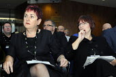 Mary Bousted (left) & Christine Blower (right), GS of the NASUWT & NUT respectively, listen to debate at TUC. TUC Congress 2011 London. - Stefano Cagnoni - 14-09-2011