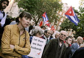 Frances O'Grady, Gen Sec designate of the TUC, joins a CSC rally outside the US Embassy in London against the long standing blockade of Cuba & the unjust imprisonment of the Miami 5. - Stefano Cagnoni - ,2010s,2012,activist,activists,against,blockade,BLOCKADING,Campaign,campaigner,campaigners,CAMPAIGNING,CAMPAIGNS,Cuba,DEMONSTRATING,demonstration,DEMONSTRATIONS,FEMALE,London,member,member members,mem