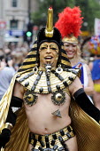 Egyptian pharaoh costume. World Pride 2012 demonstration in London. - Stefano Cagnoni - 2010s,2012,activist,activists,CAMPAIGN,campaigner,campaigners,CAMPAIGNING,CAMPAIGNS,CELEBRATE,CELEBRATING,celebration,CELEBRATIONS,costume,costumes,DEMONSTRATING,demonstration,DEMONSTRATIONS,dressed u