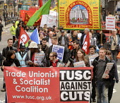 2012 May Day demonstration in London. TUSC banner on the demonstration. - Stefano Cagnoni - 01-05-2012