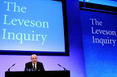 Lord Justice Leveson speaking at his press conference at the QEII Centre to officially launch the results of his Inquiry into media ethics and practise: The Leveson Report. - Stefano Cagnoni - 2010s,2012,conference,conferences,ethics,journalism,journalist,journalists,launch,Leveson,Leveson Inquiry,media,PO Politics,pol,political,POLITICIAN,POLITICIANS,politics,press,reform,REFORMING,reforms