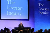 Lord Justice Leveson speaking at his press conference at the QEII Centre to officially launch the results of his Inquiry into media ethics and practise: The Leveson Report. - Stefano Cagnoni - 29-11-2012