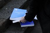 Lying on the pavement outside the QEII Centre, not quite in the gutter: official copies of Lord Justice Leveson's Inquiry into media ethics and practise: The Leveson Report. Each costs �250. - Stefano Cagnoni - 2010s,2012,ethics,journalism,journalist,journalists,Leveson,Leveson Inquiry,Lying,media,outside,pavement,PO Politics,press,Report,reporter,reporters,reporting,sidewalk